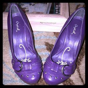 Qupid Purple Wedge Sandals 7.5-8 Good Condition